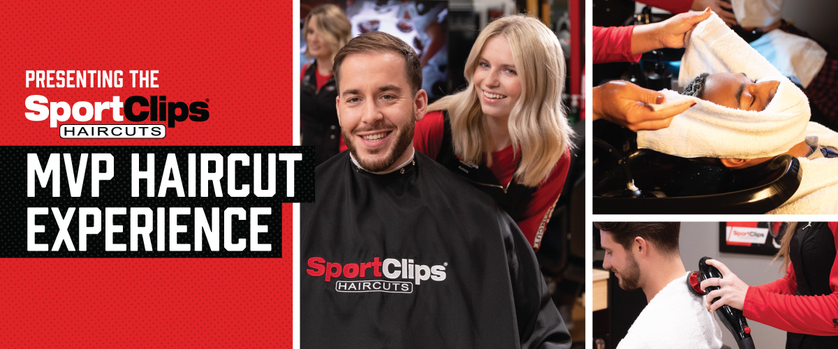 The Sport Clips Haircuts of James Island MVP Haircut Experience with stylist giving a client a haircut, a hot towel placed on his face, and using a massager on a clients upper back